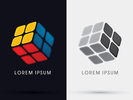 큐브 상자 상징 서명 아이콘 그래픽 벡터. 일러스트