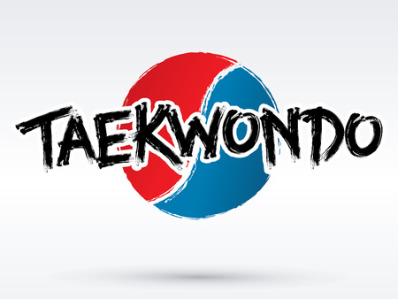 korean design: Taekwondo text brush graphic vector. Illustration