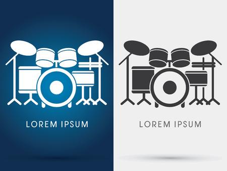 bateria musical: Drum Set M�sica del icono del s�mbolo gr�fico vectorial.