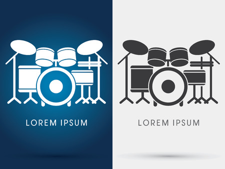 drum: Drum Set Music symbol icon graphic vector. Illustration