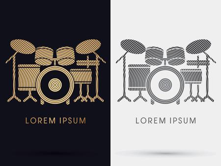 snare: Drum Set Music symbol icon graphic vector. Illustration