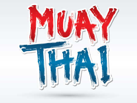 muay thai: Muay Thai text brush graphic vector.