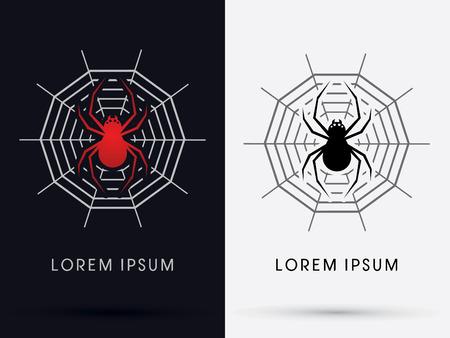 gossamer: Red spider on gossamer symbol icon graphic vector. Illustration