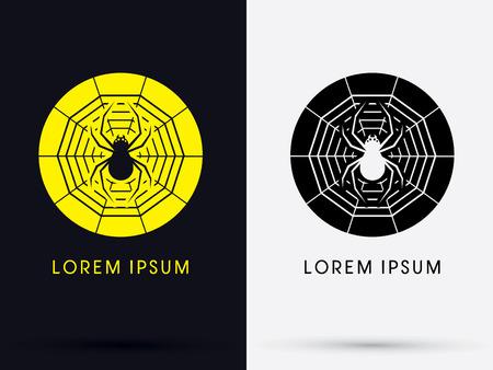 gossamer: Spider on gossamer symbol icon graphic vector.