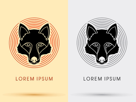 black wolf: Black Wolf Fox  Head Face  symbol icon graphic vector with cycle background.