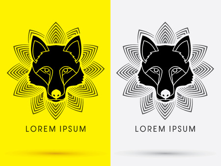 black wolf: Black Wolf Fox  Head Face  logo symbol icon graphic vector with lotus background.