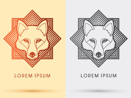 Wolf Fox  Head Face outline  logo symbol icon graphic vector with square background.
