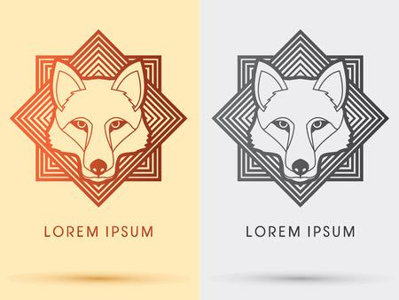 vektor: Wolf Fox-Kopf-Gesichts-Kontur-Logo-Symbol Symbol Vektor-Grafik mit quadratischen Hintergrund. Illustration