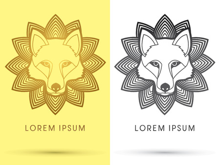 Gold Wolf Fox  Head Face outline  logo symbol icon graphic vector with lotus background. Illustration