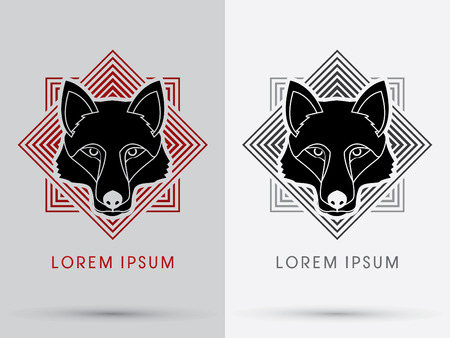 black wolf: Black Wolf Fox  Head Face  logo symbol icon graphic vector with square background.