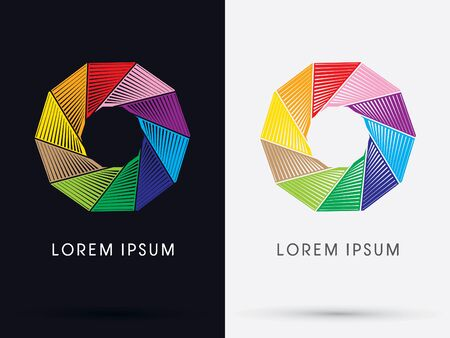 shutter speed: Cycle colorful symbol icon graphic vector.
