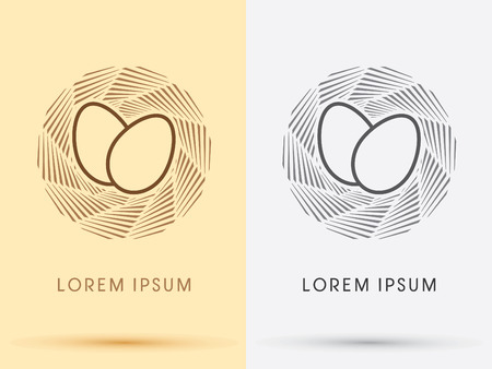 huevo: Jerarquía del pájaro y el logotipo de huevos icono del símbolo gráfico vectorial.