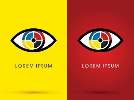 Eye C M Y K printing abstract logo symbol icon graphic vector. Illustration