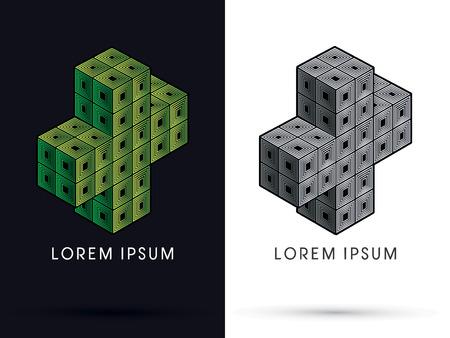 green cross: Green Cross Cube Box graphic vector . Illustration