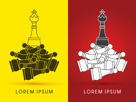 pawn to king: King and Pawn The winner Chess symbol icon graphic vector .