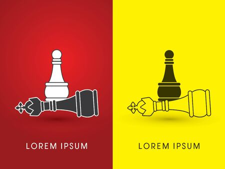 pawn shop: Pawn and King  Chess symbol icon graphic vector .