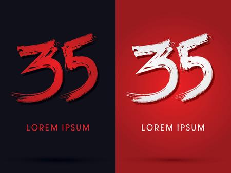 35: 35  grungy  font brush  symbol icon graphic vector.