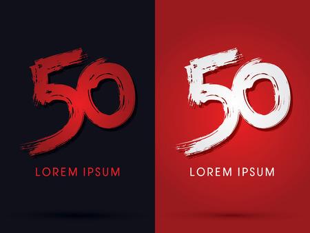 50 grungy lettertype penseel logo symbool pictogram grafische vector.