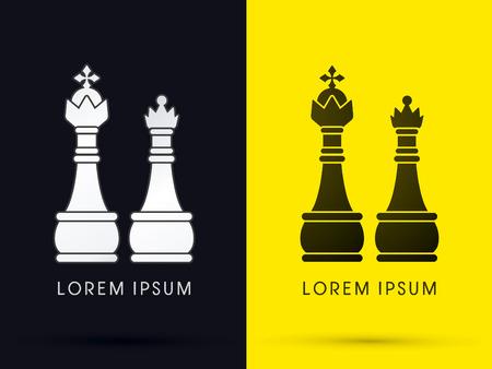 rey: Rey y la Reina de ajedrez logotipo del icono del símbolo gráfico vectorial. Vectores