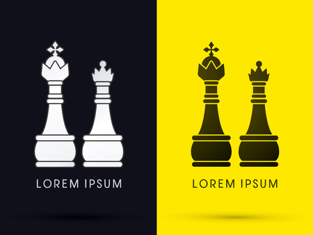 King and Queen Chess  logo symbol icon graphic vector .