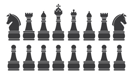 chess set: Black Chess Set symbol icon graphic vector .