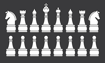 pawn shop: White Chess Set symbol icon graphic vector . Illustration