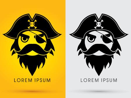 calavera pirata: Pirata Cabeza Cara llevaba sombrero y parche en el ojo del símbolo del icono gráfico vectorial.