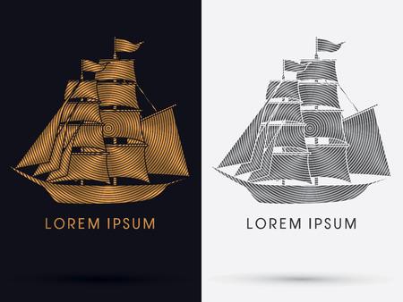 Pirate  ship Boat  logo symbol icon graphic vector.