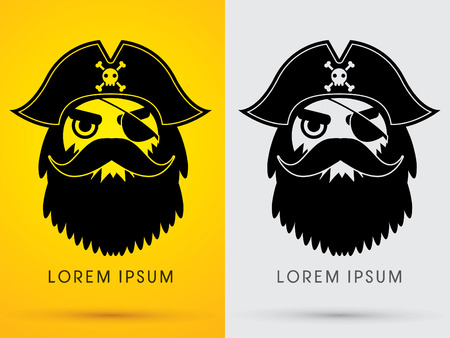 Pirate Head Face wearing hat and eye patch symbol icon graphic vector. Vector