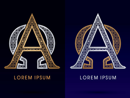 alpha: Alpha and Omega Luxury font gold and diamond  symbol icon graphic vector
