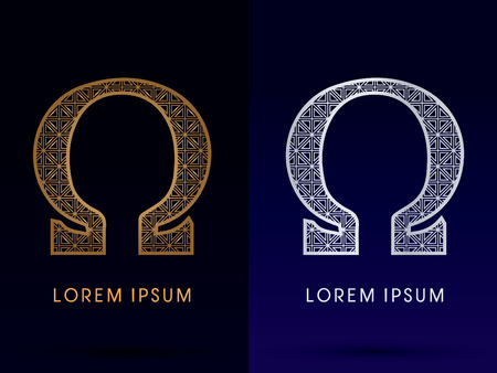 omega: Omega Luxury font gold and diamond  symbol icon graphic vector .