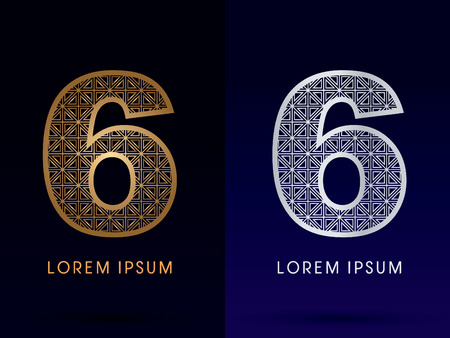 6 Number Luxury font gold and diamond logo symbol icon graphic vector .