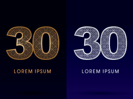 30 Number Luxury font gold and diamond logo symbol icon graphic vector . Vector
