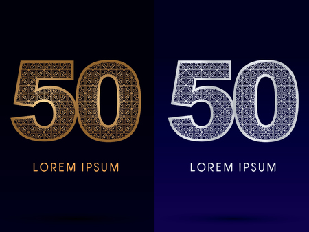 50 number: 50 Number Luxury font gold and diamond logo symbol icon graphic vector .