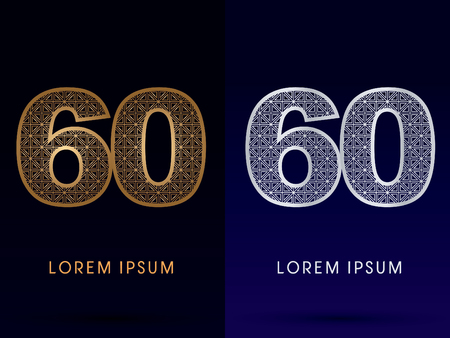 60 Number Luxury font gold and diamond logo symbol icon graphic vector . Vector