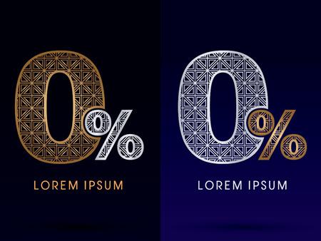 0 Zero Percent Number Luxury font gold and diamond logo symbol icon graphic vector . Vector