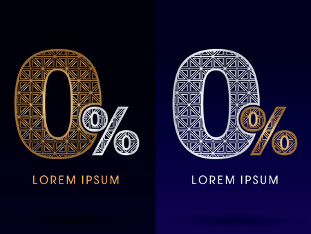 0 Zero Percent Number Luxury font gold and diamond logo symbol icon graphic vector . Illustration