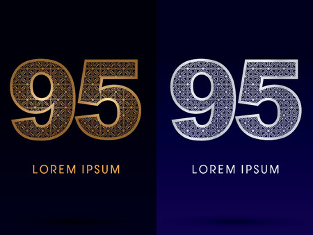95: 95 Number Luxury font gold and diamond  symbol icon graphic vector. Illustration