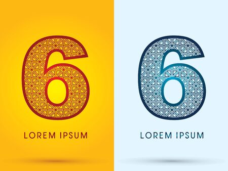 6 Number Luxury font hot and cool logo symbol icon graphic vector.