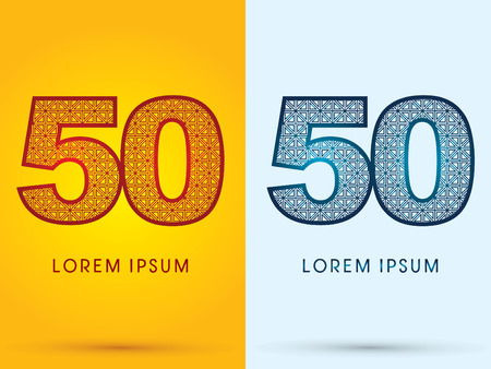 50 number: 50 Number Luxury font hot and cool logo symbol icon graphic vector. Illustration