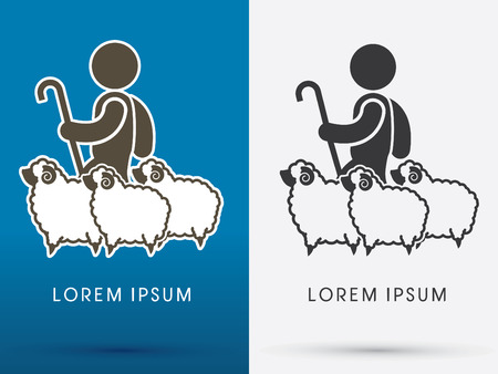 Shepherd and sheep. logo graphic vector. Illustration