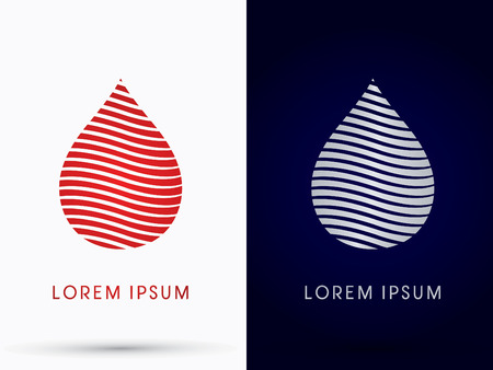 medical logo: Blood drop designed using red line logo symbol icon graphic vector. Illustration