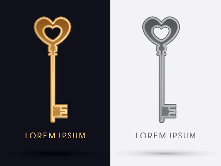 secret love: Luxury Key designed using gold colorlogo symbol icon graphic vector.