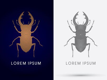 cervus: Stage Beetle Lucanus cervus  logo symbol icon graphic vector. Illustration