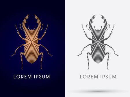 lucanus: Stage Beetle Lucanus cervus  logo symbol icon graphic vector. Illustration