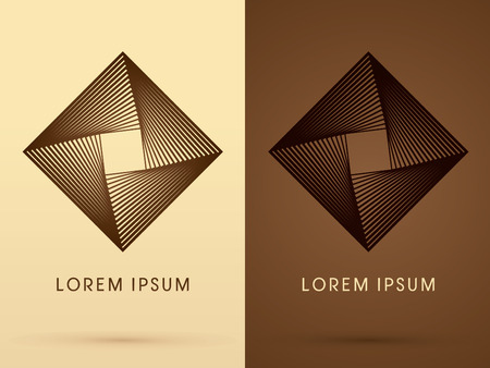 spin: Fan spin Abstract Square design using line brown graphic geometric shape logo symbol icon vector.