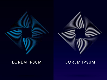 Fan spin Abstract Square design using blue and gray line graphic geometric shape logo symbol icon vector. Vector