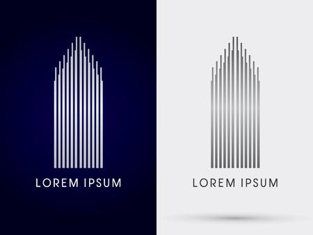 豪華な建物マンション抽象的なロゴ シンボル アイコン グラフィック ベクトル。