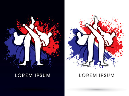 Taekwondo Sport Actie fightingdesigned met borstel op splash grunge achtergrond logo symbool pictogram grafische vector.