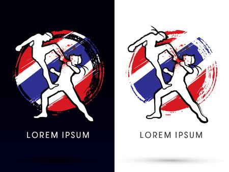 thai flag: Muay ThaiThai Boxing Sport Action fighting with flag grunge splash background logo symbol icon graphic vector.
